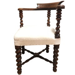 19th Century Spool Leg Corner Chair, England