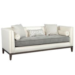 Tufted Modern Grey and Cream Bailey Sofa