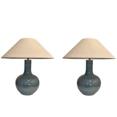 Pair of Large Turquoise Lamps, China, Contemporary