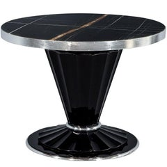 Carrocel Custom Art Deco Style Marble-Top Foyer Hall Table