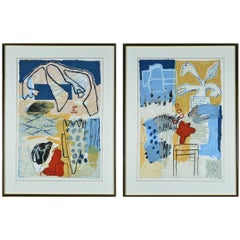 Pair of Colourful Etchings by Kjeld Ulrich