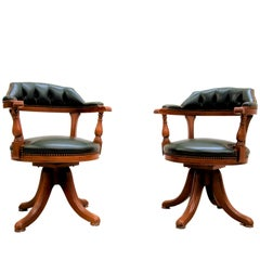 1980s Green Leather & Wood Open Arm Captain Chair, Tufted and Nail Finish, Pair