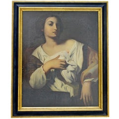 Antique Framed St. Agnes the Martyr Oil Painting 14th or 15th Century Portrait