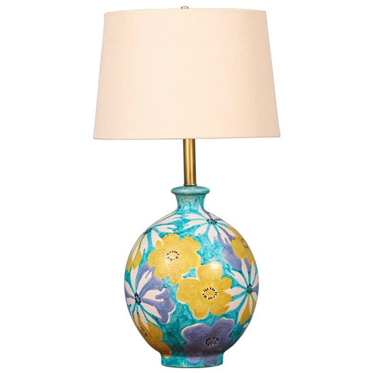Italian Floral Ceramic Table Lamp by Raymor