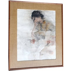 Contemporary Framed Female Portrait Watercolor Signed Richard Jerzy