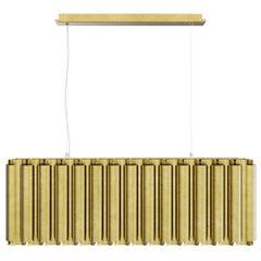 Brabbu Aurum I Rectangular Pendant Light in Matte Hammered Brass