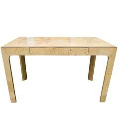 Modern Burled Birdseye Maple Light Wood Desk with Pencil Drawer by Henredon