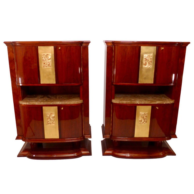 Pair of Two Different Art Deco Cabinets, with Bar and Commode, France 1930s
