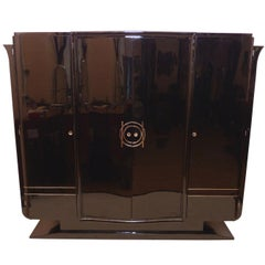 1930s French Art Deco Black Lacquer Wardrobe Armoire