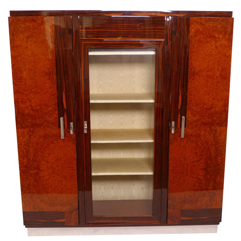 1930s French Art Deco Wardrobe Armoire Cabinet, Glass Doors and Complex Inlay