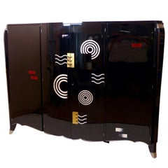 1940s Large Black-Lacquered Art Deco Style Wardrobe, Armoire, Cabinet with Motif