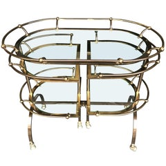Unique Gilt Metal Bar Trolley with Swing Out Shelves