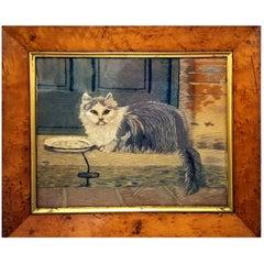 English Cat Woolwork, circa 1840