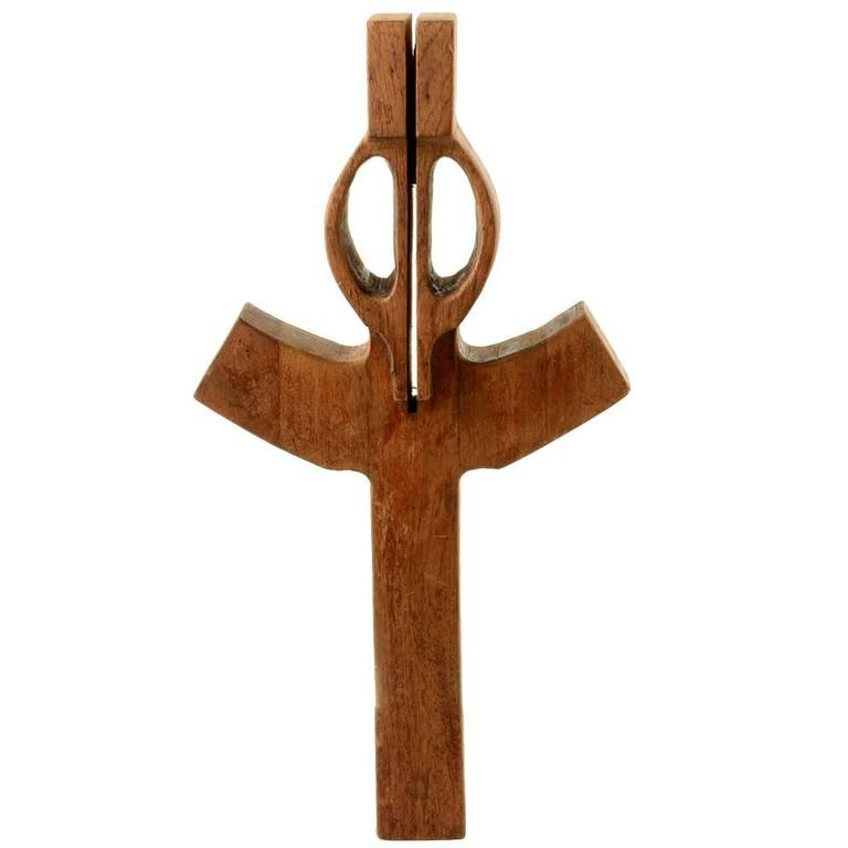 Vintage Sculptural Wood Cross