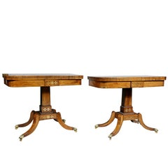 Pair of Regency Rosewood Brass Inlaid Games Tables