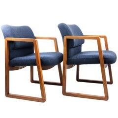 Pair of Vintage Blue Wool Armchairs