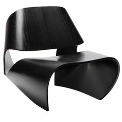 'Cowrie' Ebonised Ash Veneered Bent Plywood Contemporary Lounge Chair - In Stock