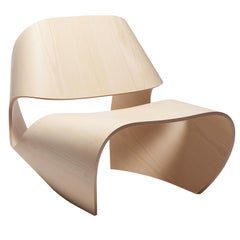 'Cowrie' Ash Veneered Bent Plywood Contemporary Lounge Chair - In Stock