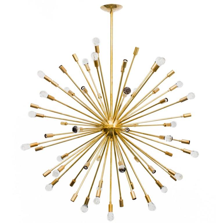 Inclused Glass Orb Brass Sputnik Chandelier For Sale