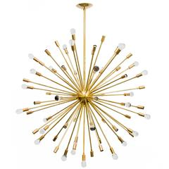 Inclused Glass Orb Brass Sputnik Chandelier