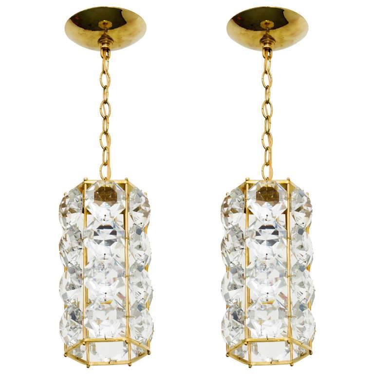 German 1960s Gilt Brass and Hexagonal Crystal Chandeliers