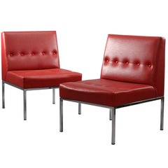 Pair of Red Lounge Chairs Designed Johannes Spalt Vienna, 1960