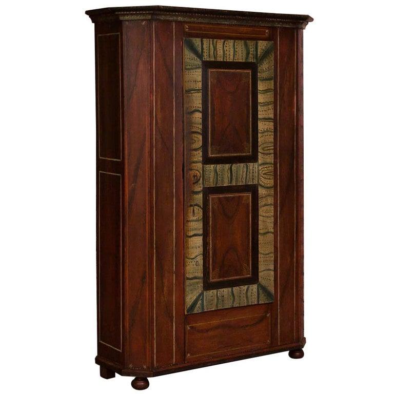 Antique German Single Door Armoire with Original Paint