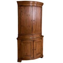 Exceptional Antique Swedish Pine Corner Cabinet
