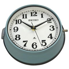 1970s Seiko Blue Retro Vintage Industrial Antique Steel Quartz Wall Clock