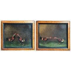 Pair of 19th Century English Sporting Paintings, Fighting Cocks