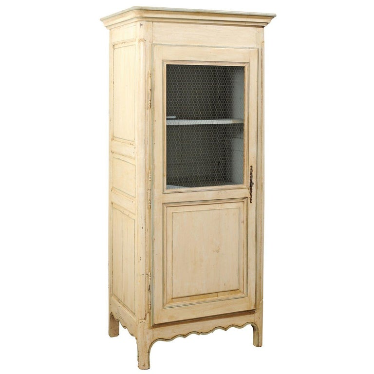French 19th Century Painted Wood Bonnetière Cupboard with Chicken Wire Door