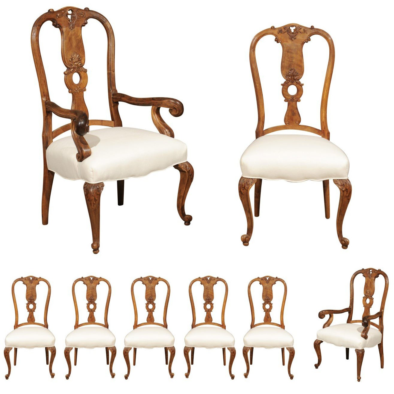 Set of Eight French Rococo Style 19th Century Upholstered Walnut Dining Chairs