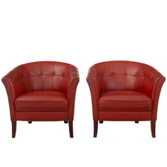 Pair of 1970s Leather Club Armchairs