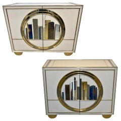 Italian Contemporary Bespoke Ivory Cabinets with New York Blue & Gold Sculpture