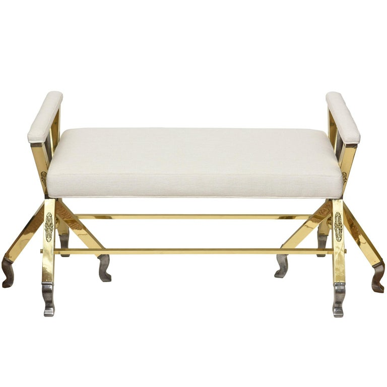 Mid-Century Modern Brass and Steel and Upholstered 3-Legged Bench