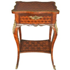 Louis XV Rectangular Work Table with Inlays, Walnut and Birch, France