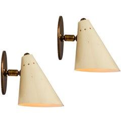 Pair of 1950s Italian Cone Sconces in the Manner of Arteluce