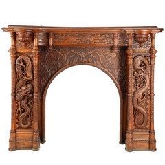 Large Oriental Carvedwood Fireplace