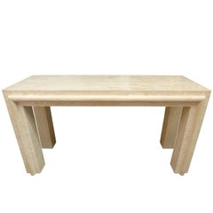 Massive Travertine Console Table