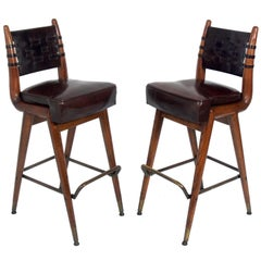 Pair of Curvaceous Oak Leather and Brass Bar Stools