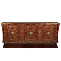 Art Deco French Sideboard in Burl Walnut