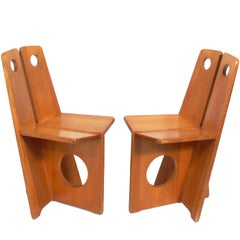 Pair of Low Slung German Constructivist Chairs