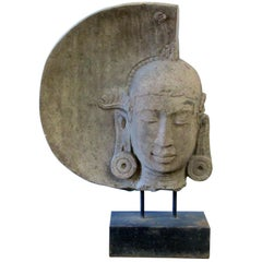 Serene Carved Stone Moon Buddha by Luciano Tempo