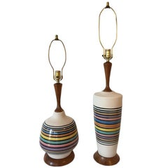Matching Pair of Multicolored Glazed Ceramic Lamps