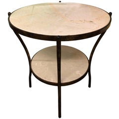 Two-Tiered Centre Table with Gilded Metal Frame and Marble-Top