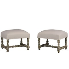 Set of 2 of Carved Benches or Stools, circa 1860s