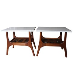 Mid-Century Modern Pair of Walnut and White Quartz Nightstands or Side Tables