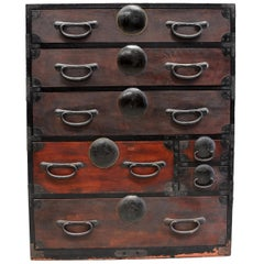 Brown Black Japanese Tansu Chest with Iron Hardware, Meiji Period