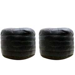 De Sede Patchwork Black Leather Ottomans