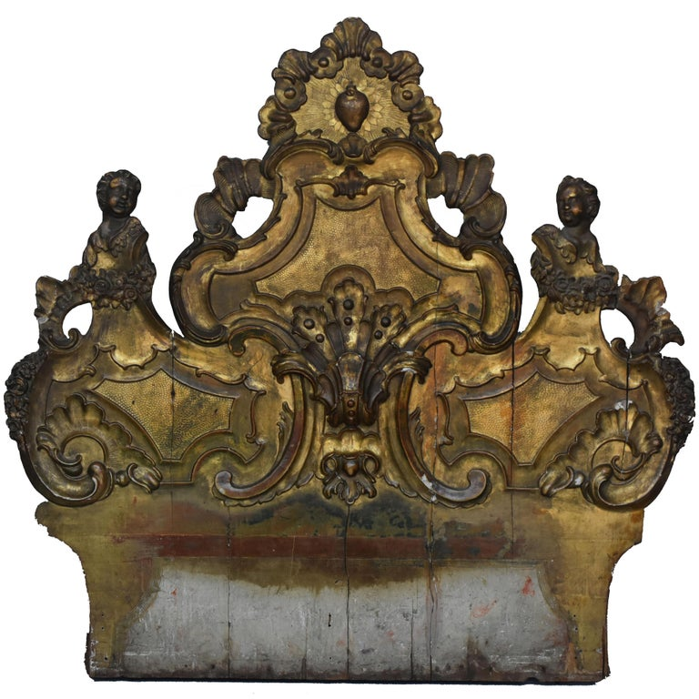 18th Century Wood Headboard Carved and Gilded